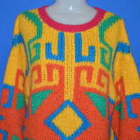 90s Colorful Neon Geometric Women's Sweater Medium