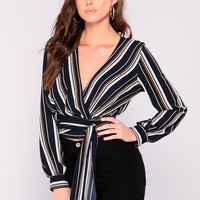 Along The Lines Top - Navy/Multi