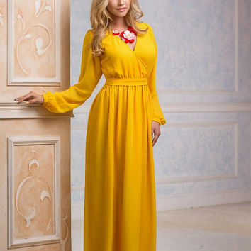 Yellow Dress, Maxi Dress, long evening dress, Bridesmaids Dress, Formal dress, Evening Gowns, Special occasion womens dress, with sleeves