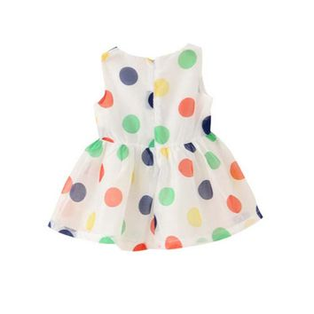Fashion Baby Girl Dress Summer Girls Bow Vest Dress Infant Girl Sleeveless Dot Dress 0-2 Year Baby Birthday Dress Clothes 2-7Y