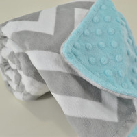 Minky Baby Blanket - Silver and White Chevron Minky - Tiffany Minky Dimple Dot - Double Minky Blanket - Baby Size 29x35