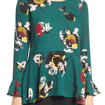 Chaus Floral Print Peplum Blouse | Nordstrom