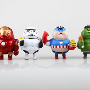 2015 new original fat series avengers Q version Iron Man alliance Fatty iron man hulk Captain America toy Action figures robot Brinquedos kids