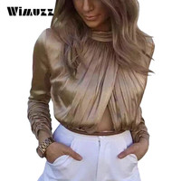 Wimuzz One Piece Satin Bodysuit Women Hollow Out Ruched Elegant Long Sleeve Turtleneck Sexy Rompers Jumpsuit