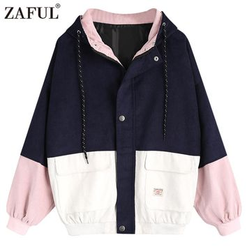 ZAFUL Spring Jacket Coat Women Patchwork Color Block Hooded Pocket Corduroy Jackets Autumn Casual Jacket Coats Women Outerwear