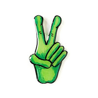 90s Grunge Style Lapel Pin - Green Alien Hand giving the Peace Sign