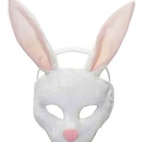 Forum Novelties Deluxe Plush White Bunny Rabbit Animal Half Mask