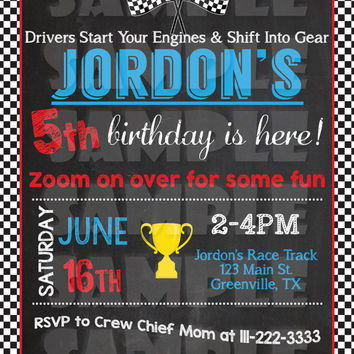 RACE CAR BIRTHDAY Invitation - Race Car Invitation - Chalkboard Race Car - Dragster Invitation - Racing Party - Race Car Party Invite Boy's