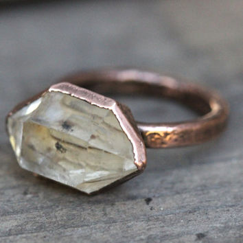 Raw Crystal Ring Quartz Crystal Ring Electroformed Ring Herkimer Diamond Ring Bohemian Ring Bohemian Jewelry Natural Crystal Ring