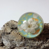 Snow Globe Flower Ring  Handmade  Real Flower set by MoonTideArt