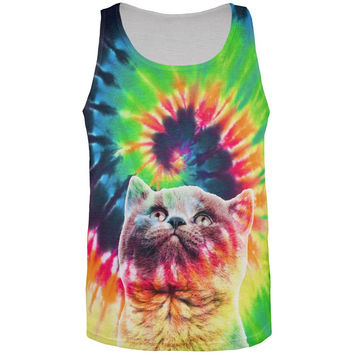 Cat Tie Dye All Over Adult Tank Top