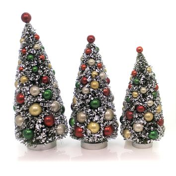 christmas bottle brush trees set 3 plastic set of 3 lg9372 - Pre Lit Polar Bear Christmas Decoration Set Of 3