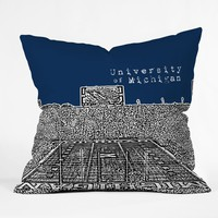 Bird Ave University Of Michigan Navy Throw Pillow