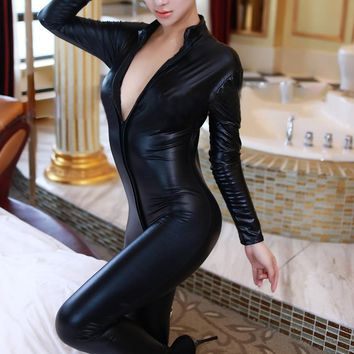 Hot Lady Sexy Faux Leather Latex Zentai Catsuit Smooth Wetlook Jumpsuit Front Zipper Elastic Black PU Bodysuit Slim Clubwear