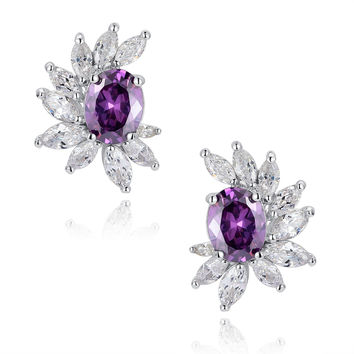 Purple Oval and Clear Marquise Cubic Zirconia Stud Earrings