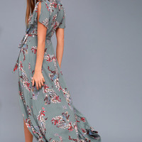 Fiorire Slate Blue Floral Print Wrap Maxi Dress