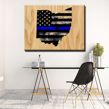 Ohio Thin Blue Line Wooden Wall Decor