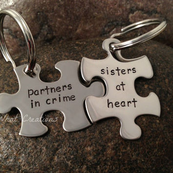 Custom Hand Stamped Best Friends Puzzle Piece Key Chains SET OF TWO