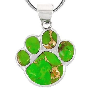 "Dog Paw Pendant Necklace in 925 Sterling Silver with Genuine Turquoise & Gemstones (20"" Length)"
