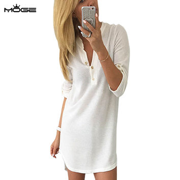 MOGE women sweater winter dresses v-neck fashion warm knitted autumn dresses casual mini dresses elegant  dresses for women