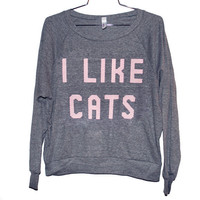 I Like Cats Raglan Select Size by burgerandfriends on Etsy