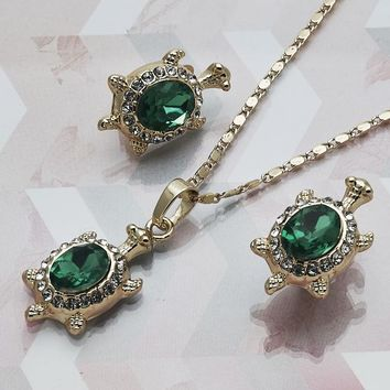 Gold Layered Women Turtle Necklace and Earring, with Green Crystal, by Folks Jewelry