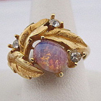 Vintage Avon Fire Opal Cocktail Ring Size 7