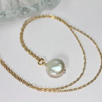 White Coin Pearl Choker, Freshwater Pearl 14k Gold Filled, Single Pearl Choker, Pearl Pendant, Simple Dainty Delicate Necklace
