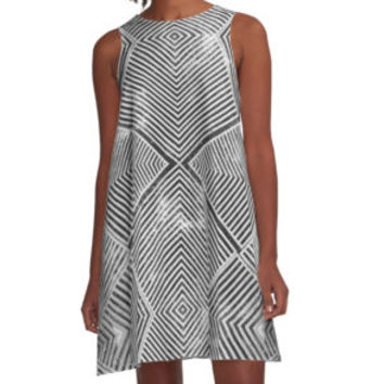 'Grungy Geometric Pattern' A-Line Dress by ideasinthings