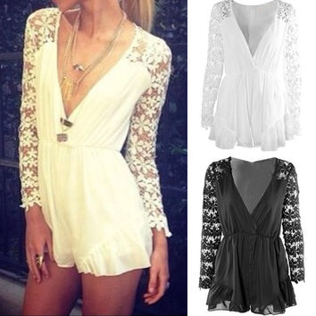 V-neck Long Sleves Lace Chiffon Short Jumpsuits