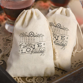 Celebration of Love and Friendship Cotton Favor Bags