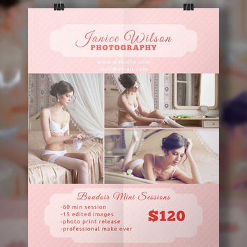 Mini Session Template | Boudoir Mini Session | Mini Session | Instant Download | PSD Template | Flyer Template | Love