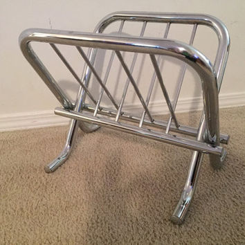 Vintage Mid Century Modern Chrome Folding Magazine Rack Sling with curved legs