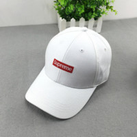 White Unisex Supreme Embroidered Adjustable Baseball Cap Hat