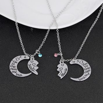 Silver Broken Heart Moon 2 Parts Pendant Necklace Heart Mother Daughter Necklace Engraved I Love You To The Moon And Back Collar