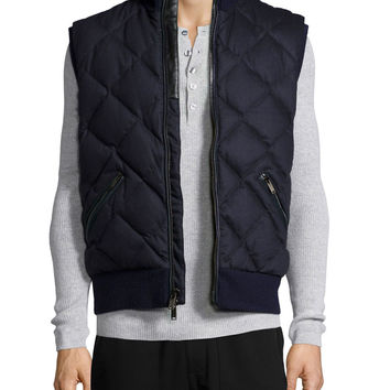 Quilted Flannel Vest, Black, Size: