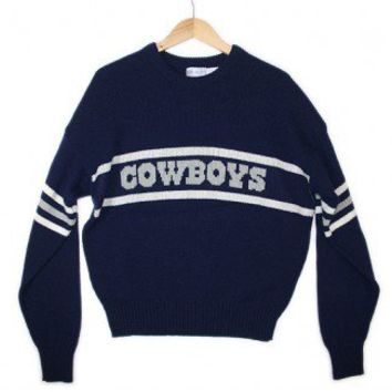 Vintage 80s Dallas Cowboys Cliff Engle Football Tacky Ugly Sweater Men's Size XL $50 - The Ugly Sweater Shop