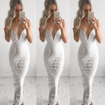 Summer Spaghetti Strap Lace Women's Fashion Sexy Vacation Maxi Dress One Piece Dress [8096805127]