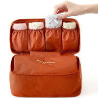 Orange Water Proof Cosmetic Portable Bag