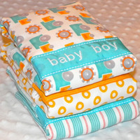 SALE Personalized Burp Cloths - Baby Boy Turquoise  Blue and Orange Trucks and Circles