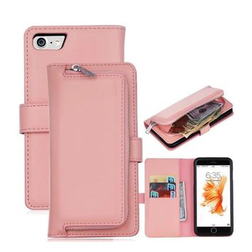 Wallet Case + Back Cover For Apple iPhone X 6 6s Plus 7 7plus 8 8plus Flip PU Leather Case Coin Purse Zipper Phone Bag   B171