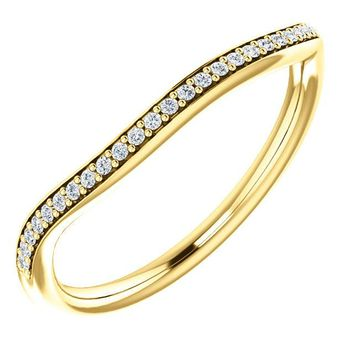 14k Yellow Gold Band For 10x5mm Marquise Ring