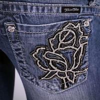 Miss Me Embroidered Rose Boot Cut Jeans JP6080B MED10C - PFI Western Store