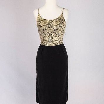 Christmas Sale* Vintage 50s Black and Gold Brocade Cocktail Dress Velvet Skirt Bombshell Hourglass Curves