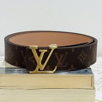 LV Louis Vuitton tide brand men and women models simple fashion smooth buckle belt Coffee print