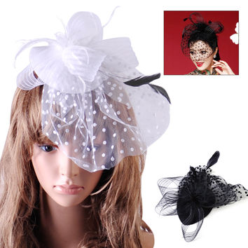 Hair Accessories Fancy Elegant Lady Top Net Mesh Birdcage Veil Feather Fascinator Hairpin Hat Hair Clip for Wedding Church Party
