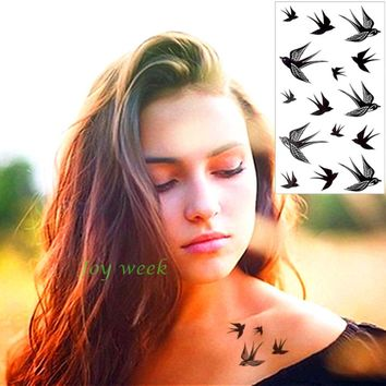 Waterproof Temporary Tattoo Sticker sexy swallows feather anchor birds star tatto stickers flash tatoo fake tattoos for women 7