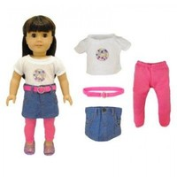 Doll Clothes - 4 Pieces Clothing Set : Leggins, Skirt, Shirt & Belt Fits American Girl Dolls, Madame Alexander and other 18 inches Dolls