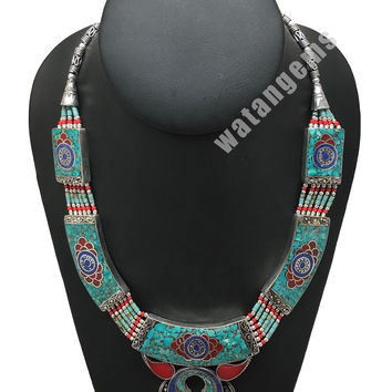 Ethnic Tribal Lapis, Turquoise & Red Coral Inlay Boho Statement Necklace, NPN49
