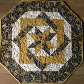 Paisley Navy Blue Cheddar Cream Quilted Table Topper Hexagon Quilt